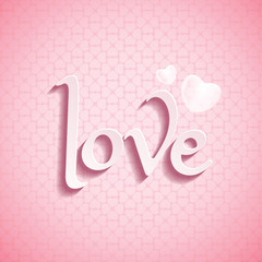 Valentine's Day LOVE font type with love pattern background.