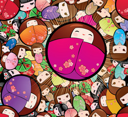 Vector seamless background with japanese kokeshi dolls