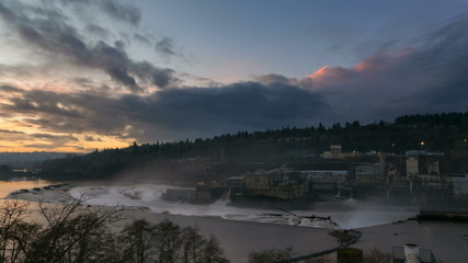 Time Lapse of Sunset at Willamette Falls on Willamette River