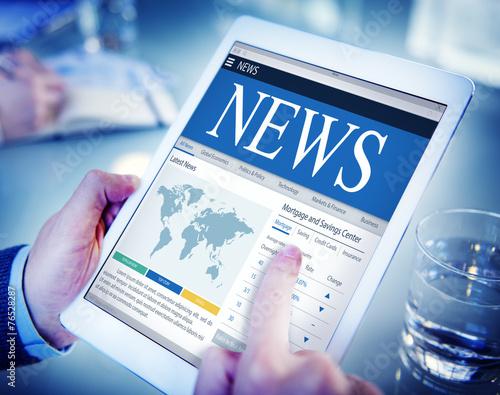 News Update Latest Information Headline Media Article Concept - 76528287