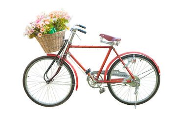 red classic bike with flower in basket isolate