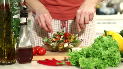 Preparation of salad with tomatoes. part 9
