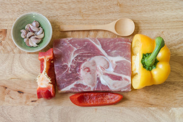 Fresh premium pork and herb for good steak