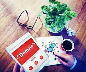 Digital Online Domain Internet Web Hosting Working Concept