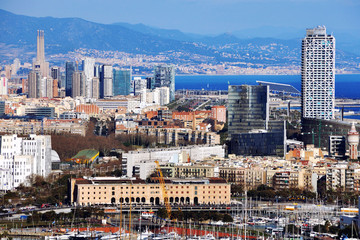 Aerial view of Barcelona, Catalonia