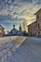 Ancient church in the winter