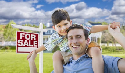 Mixed Race Father, Son Piggyback, Front of House, Sale Sign
