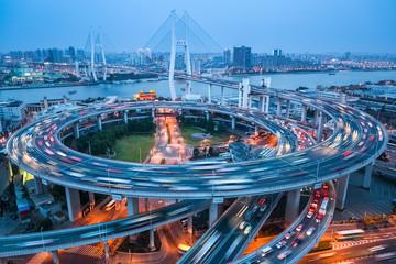 shanghai nanpu bridge at dusk