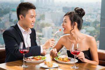 Couple in luxurious restaurant