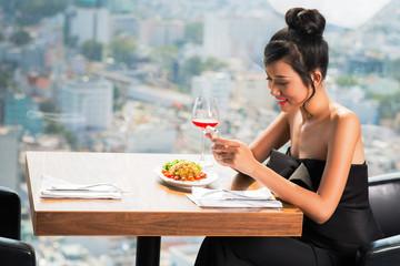 Gorgeous woman in restaurant