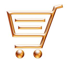 3d golden shopping cart on white background
