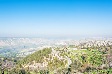 View north from Umm Qais, Jordan, with Golan Heights visible