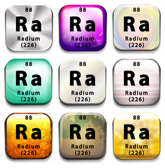 A button showing the element Radium