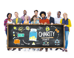 Multiethnic People Banner Give Help Donate Charity Concept