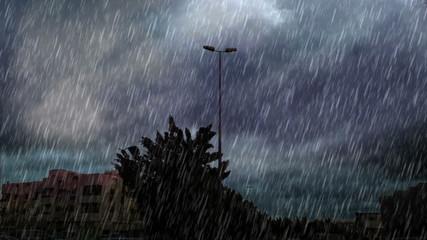 heavy rain over road in south jeddah