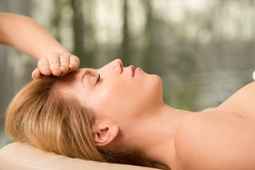 Woman and head massage