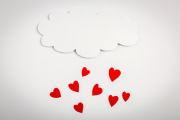 Paper heart shape with cloud symbol for Valentines day with copy