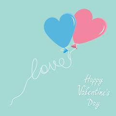 Blue pink balloons heart love thread Flat design Valentines day