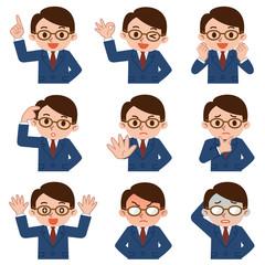 若いビジネスマンの表情セット