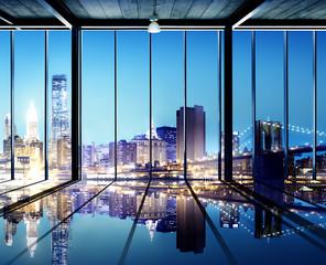 Office Cityscape Builidings Contemporary Interior Modern Concept
