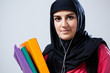 Young muslim woman before school