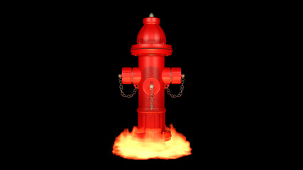 fire hydrant in a flame