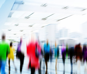 Business People Rush Hour Walking Commuting City Concept