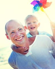 Father Son Fun Relaxation Family Bonding Concept