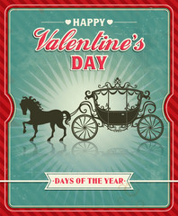 Vintage Valentine poster design with carriage