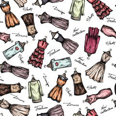 Vector pattern with fashionable dresses sketches on white color