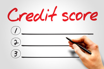 CREDIT SCORE blank list, business concept