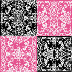 white decorations on pink and black backgrounds