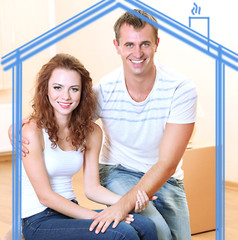 Loving couple in drawing house