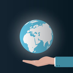 earth concept with hand. Vector illustration