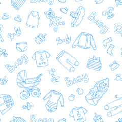 Vector pattern with symbols of newborn boy on white color