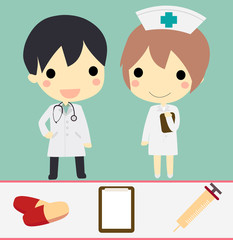 cute doctor and nurse with drug clipboard and syringe