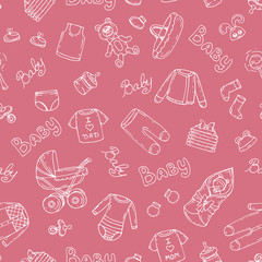 Vector pattern with symbols of newborn girl on pink color