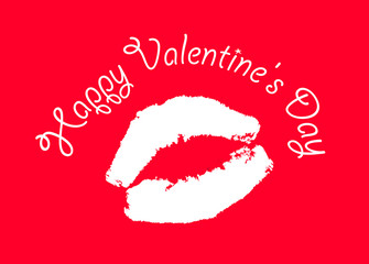 Print kiss on red background