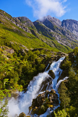 Waterfall near Briksdal glacier - Norway
