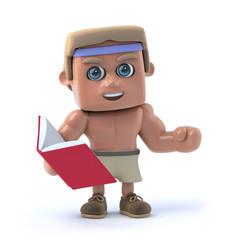3d Bodybuilder reads a book