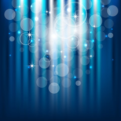 Abstract blue vector background with lights, bubbles and stars