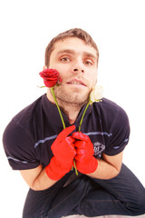handsome man hold roses