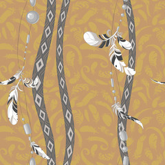 Dreamcatcher feathers vector background pattern