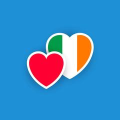 Irish flag in the shape of heart