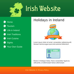 Webdesign for site about Ireland
