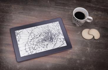 Tablet computer with broken glass