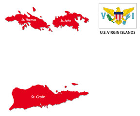 u.s. virgin islands map with flag