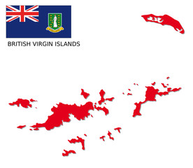 british virgin islands map with flag