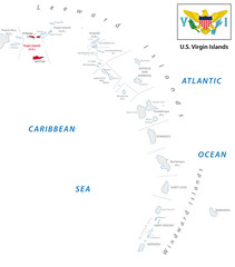 lesser antilles outline map with u.s. virgin island map