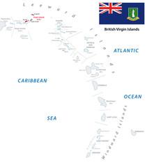 lesser antilles outline map with british virgin islands